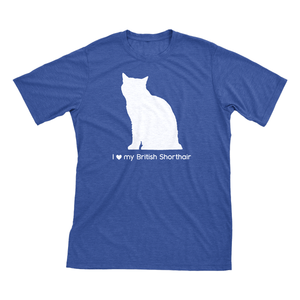I Love My British Shorthair | Must Love Cats® White On Heathered Royal Blue Short Sleeve T-Shirt-Must Love Cats® T-Shirts-The Official Website of Jewelry Candles - Find Jewelry In Candles!