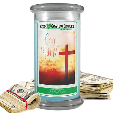 He Is Risen | Cash Greeting Candle-Cash Greeting Candles-The Official Website of Jewelry Candles - Find Jewelry In Candles!