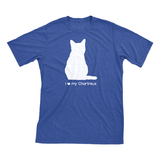 I Love My Chartreux | Must Love Cats® White On Heathered Royal Blue Short Sleeve T-Shirt-Must Love Cats® T-Shirts-The Official Website of Jewelry Candles - Find Jewelry In Candles!