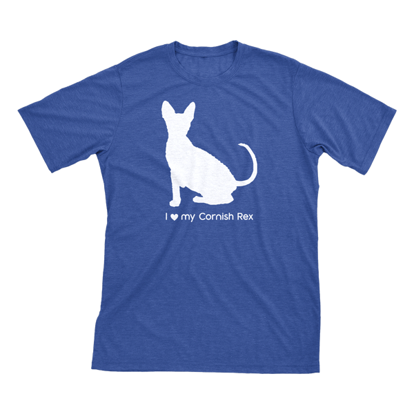 I love my Cornish Rex | Must Love Cats® White on Heathered Royal Blue Short Sleeve T-Shirt-Must Love Cats® T-Shirts-The Official Website of Jewelry Candles - Find Jewelry In Candles!