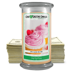 Life's A Cupcake.. Take A Bite! | Cash Greeting Candle-Cash Greeting Candles-The Official Website of Jewelry Candles - Find Jewelry In Candles!