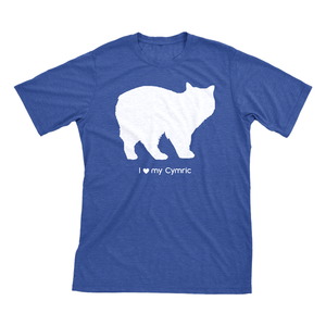 I love my Cymric | Must Love Cats® White on Heathered Royal Blue Short Sleeve T-Shirt-Must Love Cats® T-Shirts-The Official Website of Jewelry Candles - Find Jewelry In Candles!