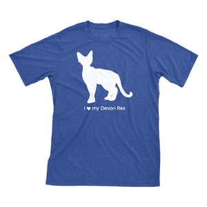 I love my Devon Rex | Must Love Cats® White on Heathered Royal Blue Short Sleeve T-Shirt-Must Love Cats® T-Shirts-The Official Website of Jewelry Candles - Find Jewelry In Candles!