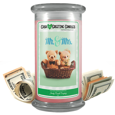 Mr. & Mrs. | Cash Greeting Candle-Cash Greeting Candles-The Official Website of Jewelry Candles - Find Jewelry In Candles!