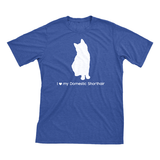 I Love My Domestic Shorthair | Must Love Cats® White On Heathered Royal Blue Short Sleeve T-Shirt-Must Love Cats® T-Shirts-The Official Website of Jewelry Candles - Find Jewelry In Candles!