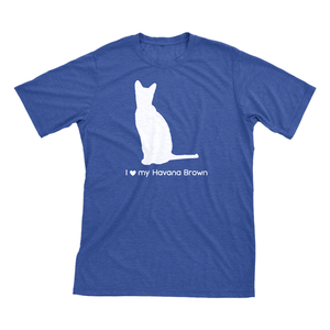 I Love My Havana Brown | Must Love Cats® White On Heathered Royal Blue Short Sleeve T-Shirt-Must Love Cats® T-Shirts-The Official Website of Jewelry Candles - Find Jewelry In Candles!
