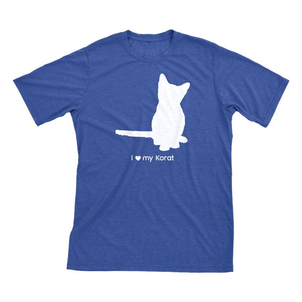 I Love My Korat | Must Love Cats® White On Heathered Royal Blue Short Sleeve T-Shirt-Must Love Cats® T-Shirts-The Official Website of Jewelry Candles - Find Jewelry In Candles!