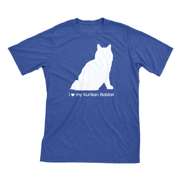 I Love My Kurilian Bobtail | Must Love Cats® White On Heathered Royal Blue Short Sleeve T-Shirt-Must Love Cats® T-Shirts-The Official Website of Jewelry Candles - Find Jewelry In Candles!