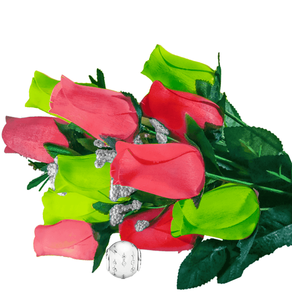 Coral & Green Bouquet Charm Roses