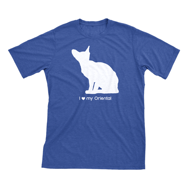 I love my Oriental | Must Love Cats® White on Heathered Royal Blue Short Sleeve T-Shirt-Must Love Cats® T-Shirts-The Official Website of Jewelry Candles - Find Jewelry In Candles!