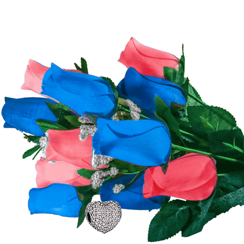 Baby Blue & Peach Bouquet | Charm Roses®