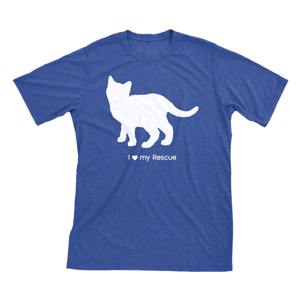 I love my Rescue | Must Love Cats® White on Heathered Royal Blue Short Sleeve T-Shirt-Must Love Cats® T-Shirts-The Official Website of Jewelry Candles - Find Jewelry In Candles!