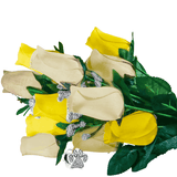Cream & Yellow Bouquet Charm Roses