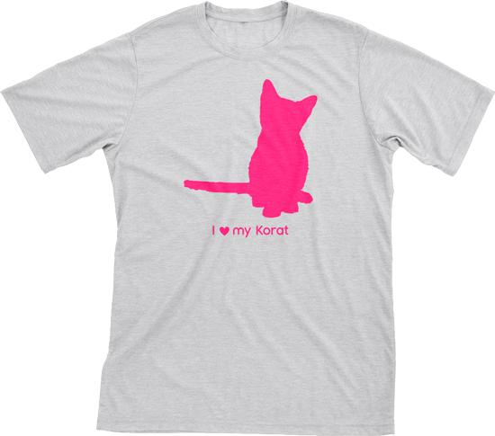 I Love My Korat | Must Love Cats® Hot Pink On Heathered Grey Short Sleeve T-Shirt-Must Love Cats® T-Shirts-The Official Website of Jewelry Candles - Find Jewelry In Candles!