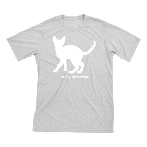 I Love My Abyssinian | Must Love Cats® White On Heathered Grey Short Sleeve T-Shirt-Must Love Cats® T-Shirts-The Official Website of Jewelry Candles - Find Jewelry In Candles!