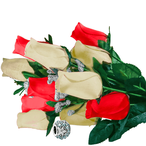 Cream & Red Bouquet | Charm Roses®
