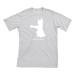I love my Calico | Must Love Cats® White on Heathered Grey Short Sleeve T-Shirt-Must Love Cats® T-Shirts-The Official Website of Jewelry Candles - Find Jewelry In Candles!