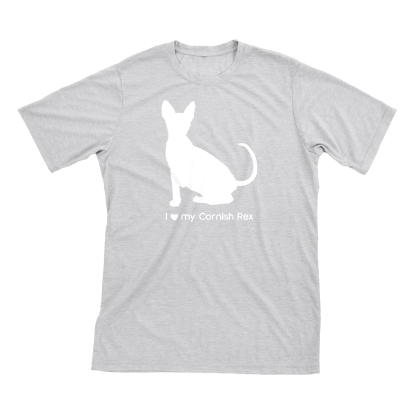 I love my Cornish Rex | Must Love Cats® White on Heathered Grey Short Sleeve T-Shirt-Must Love Cats® T-Shirts-The Official Website of Jewelry Candles - Find Jewelry In Candles!
