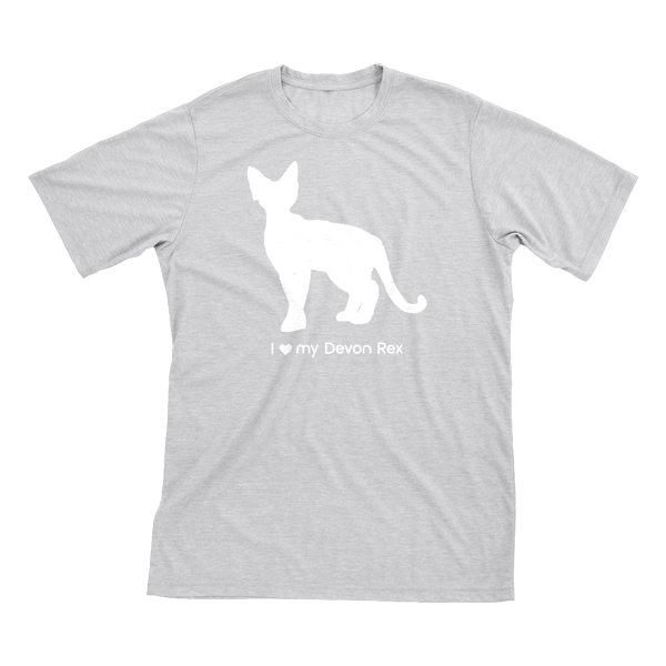 I love my Devon Rex | Must Love Cats® White on Heathered Grey Short Sleeve T-Shirt-Must Love Cats® T-Shirts-The Official Website of Jewelry Candles - Find Jewelry In Candles!