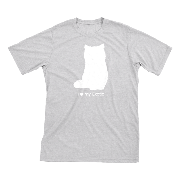 I Love My Exotic | Must Love Cats® White On Heathered Grey Short Sleeve T-Shirt-Must Love Cats® T-Shirts-The Official Website of Jewelry Candles - Find Jewelry In Candles!
