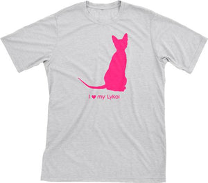 I Love My Lykoi | Must Love Cats® Hot Pink On Heathered Grey Short Sleeve T-Shirt-Must Love Cats® T-Shirts-The Official Website of Jewelry Candles - Find Jewelry In Candles!