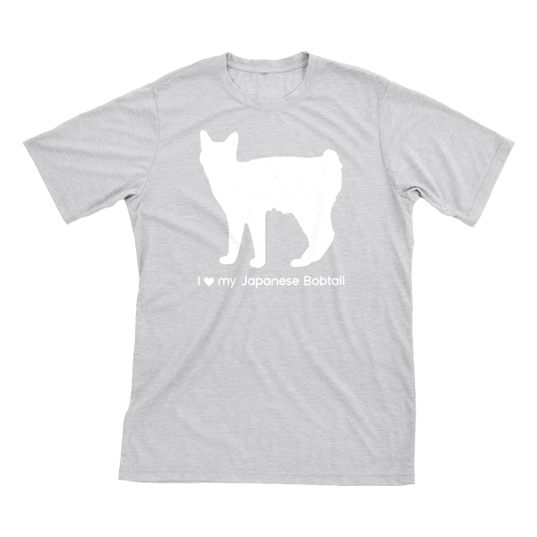 I Love My Japanese Bobtail | Must Love Cats® White On Heathered Grey Short Sleeve T-Shirt-Must Love Cats® T-Shirts-The Official Website of Jewelry Candles - Find Jewelry In Candles!