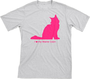 I Love My Maine Coon | Must Love Cats® Hot Pink On Heathered Grey Short Sleeve T-Shirt-Must Love Cats® T-Shirts-The Official Website of Jewelry Candles - Find Jewelry In Candles!