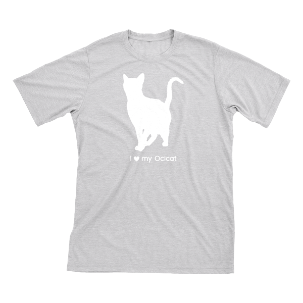 I Love My Ocicat | Must Love Cats® White On Heathered Grey Short Sleeve T-Shirt-Must Love Cats® T-Shirts-The Official Website of Jewelry Candles - Find Jewelry In Candles!