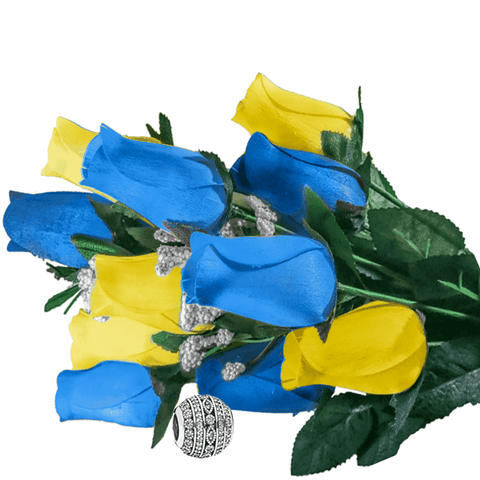 Baby Blue & Yellow Bouquet Charm Roses