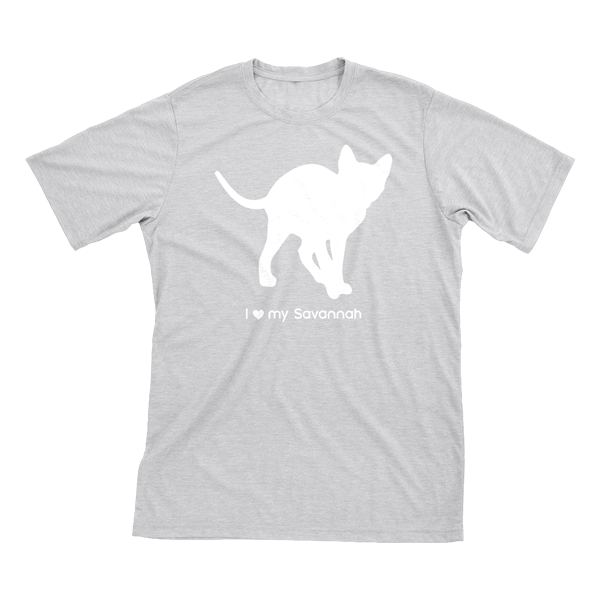 I love my Savannah | Must Love Cats® White on Heathered Grey Short Sleeve T-Shirt-Must Love Cats® T-Shirts-The Official Website of Jewelry Candles - Find Jewelry In Candles!