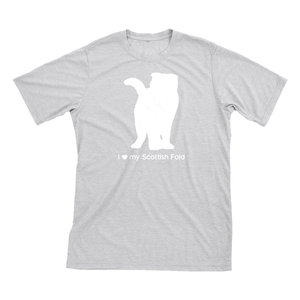 I Love My Scottish Fold | Must Love Cats® White On Heathered Grey Short Sleeve T-Shirt-Must Love Cats® T-Shirts-The Official Website of Jewelry Candles - Find Jewelry In Candles!