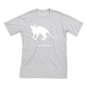 I Love My Sphnyx | Must Love Cats® White On Heathered Grey Short Sleeve T-Shirt-Must Love Cats® T-Shirts-The Official Website of Jewelry Candles - Find Jewelry In Candles!