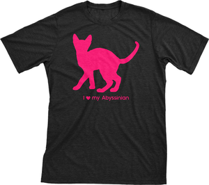 I Love My Abyssinian | Must Love Cats® Hot Pink On Black Short Sleeve T-Shirt-Must Love Cats® T-Shirts-The Official Website of Jewelry Candles - Find Jewelry In Candles!