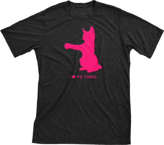 I love my Calico | Must Love Cats® Hot Pink on Black Short Sleeve T-Shirt-Must Love Cats® T-Shirts-The Official Website of Jewelry Candles - Find Jewelry In Candles!