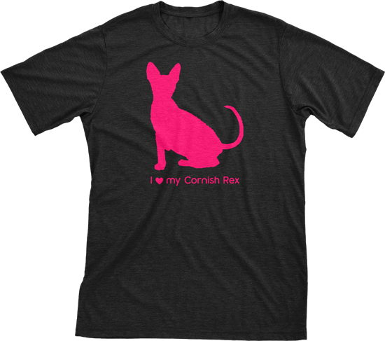 I Love My Cornish Rex | Must Love Cats® Hot Pink On Black Short Sleeve T-Shirt-Must Love Cats® T-Shirts-The Official Website of Jewelry Candles - Find Jewelry In Candles!