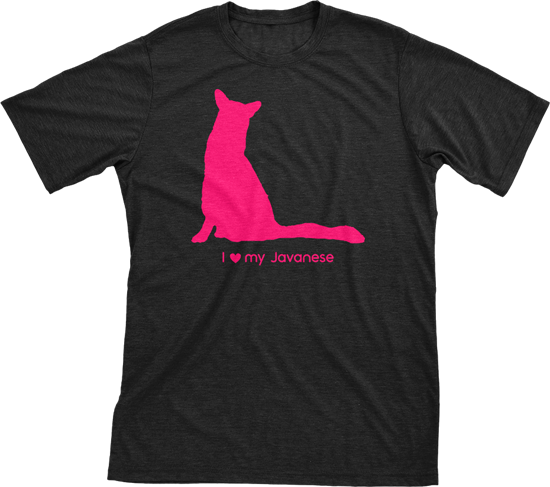 I Love My Javanese | Must Love Cats® Hot Pink On Black Short Sleeve T-Shirt-Must Love Cats® T-Shirts-The Official Website of Jewelry Candles - Find Jewelry In Candles!