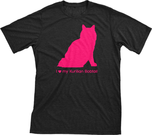 I Love My Kurilian Bobtail | Must Love Cats® Hot Pink On Black Short Sleeve T-Shirt-Must Love Cats® T-Shirts-The Official Website of Jewelry Candles - Find Jewelry In Candles!