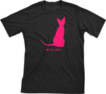 I Love My Lykoi | Must Love Cats® Hot Pink On Black Short Sleeve T-Shirt-Must Love Cats® T-Shirts-The Official Website of Jewelry Candles - Find Jewelry In Candles!
