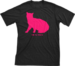 I love my Manx | Must Love Cats® Hot Pink on Black Short Sleeve T-Shirt-Must Love Cats® T-Shirts-The Official Website of Jewelry Candles - Find Jewelry In Candles!