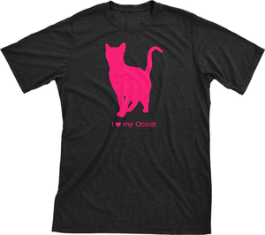 I Love My Ocicat | Must Love Cats® Hot Pink On Black Short Sleeve T-Shirt-Must Love Cats® T-Shirts-The Official Website of Jewelry Candles - Find Jewelry In Candles!