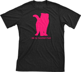 I Love My Scottish Fold | Must Love Cats® Hot Pink On Black Short Sleeve T-Shirt-Must Love Cats® T-Shirts-The Official Website of Jewelry Candles - Find Jewelry In Candles!