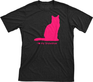 I Love My Snowshoe | Must Love Cats® Hot Pink On Black Short Sleeve T-Shirt-Must Love Cats® T-Shirts-The Official Website of Jewelry Candles - Find Jewelry In Candles!