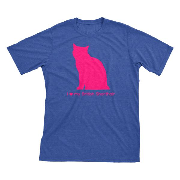 I Love My British Shorthair | Must Love Cats® Hot Pink On Heathered Royal Blue Short Sleeve T-Shirt-Must Love Cats® T-Shirts-The Official Website of Jewelry Candles - Find Jewelry In Candles!