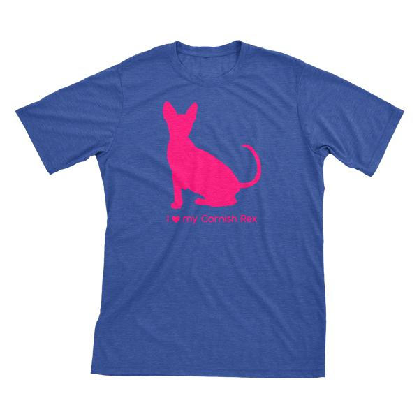 I Love My Cornish Rex | Must Love Cats® Hot Pink On Heathered Royal Blue Short Sleeve T-Shirt-Must Love Cats® T-Shirts-The Official Website of Jewelry Candles - Find Jewelry In Candles!