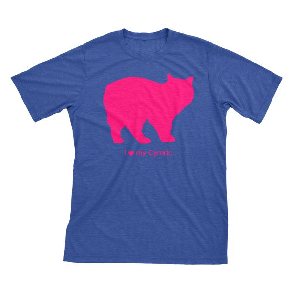 I Love My Cymric | Must Love Cats® Hot Pink On Heathered Royal Blue Short Sleeve T-Shirt-Must Love Cats® T-Shirts-The Official Website of Jewelry Candles - Find Jewelry In Candles!
