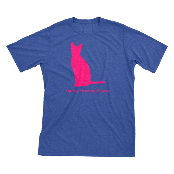 I Love My Havana Brown | Must Love Cats® Hot Pink On Heathered Royal Blue Short Sleeve T-Shirt-Must Love Cats® T-Shirts-The Official Website of Jewelry Candles - Find Jewelry In Candles!