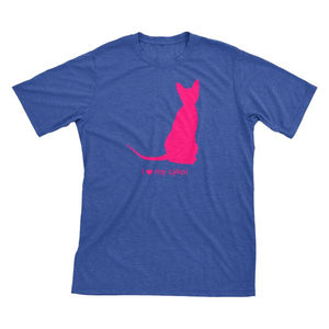 I Love My Lykoi | Must Love Cats® Hot Pink On Heathered Royal Blue Short Sleeve T-Shirt-Must Love Cats® T-Shirts-The Official Website of Jewelry Candles - Find Jewelry In Candles!
