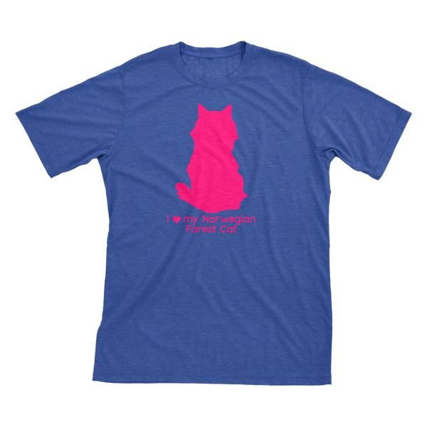 I Love My Norwegian Forest Cat | Must Love Cats® Hot Pink On Heathered Royal Blue Short Sleeve T-Shirt-Must Love Cats® T-Shirts-The Official Website of Jewelry Candles - Find Jewelry In Candles!
