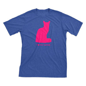 I Love My Somali | Must Love Cats® Hot Pink On Heathered Royal Blue Short Sleeve T-Shirt-Must Love Cats® T-Shirts-The Official Website of Jewelry Candles - Find Jewelry In Candles!