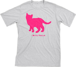 I Love My Rescue | Must Love Cats® Hot Pink On Heathered Grey Short Sleeve T-Shirt-Must Love Cats® T-Shirts-The Official Website of Jewelry Candles - Find Jewelry In Candles!